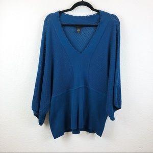 Lane Bryant Navy Blue Crochet Dolman Sleeve Top